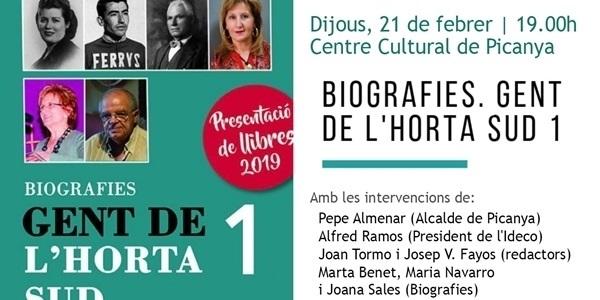 """Presentació del llibre """"Biografies. Gent de l'Horta Sud"""""""