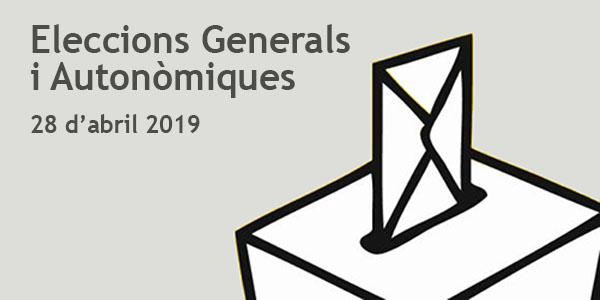 Meses electorals per a este diumenge 28 d'abril