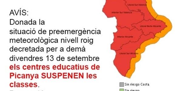 Demà divendres 13 de setembre els centre educatius del nostre poble suspenen les classes