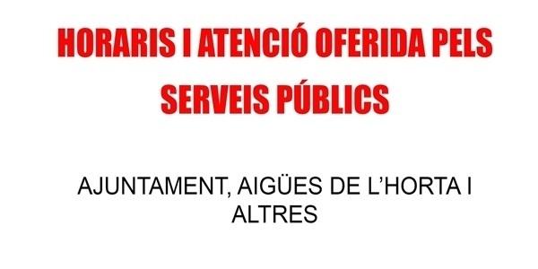 Horais (i formes) d'atenció dels serveis públics