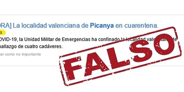 Notícia falsa sobre confinament del nostre poble