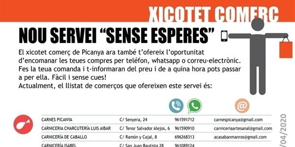 """Nou servei """"SENSE ESPERES"""" del xicotet comerç de Picanya"""