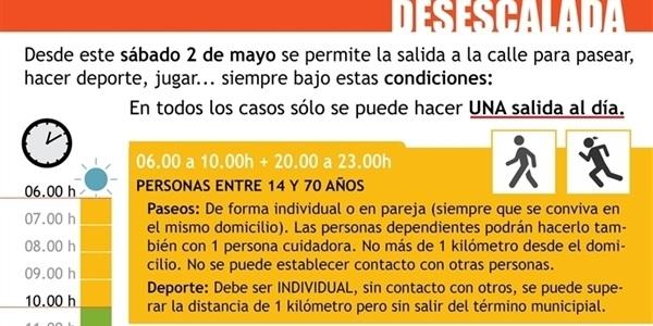 Des d'este dissabte 2 de maig es permet el passeig i l'esport a l'aire lliure sota determinades condicions
