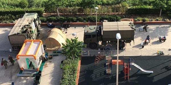 La Unitat Militar d'Emergències (UME) està realitzant treballs de desinfecció a les residències de majors de Picanya