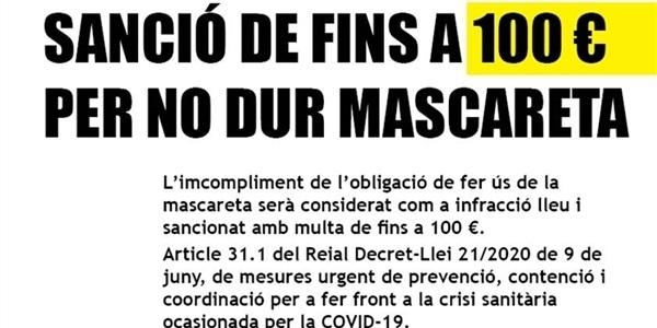 Sanció de fins a 100 euros per no dur la mascareta