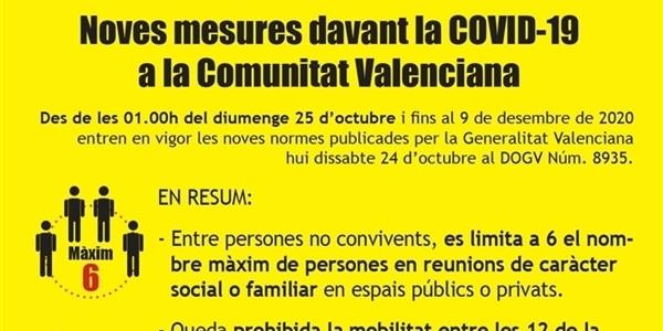 Noves mesures davant la COVID-19 a la Comunitat Valenciana des d'esta nit a les 01.00h