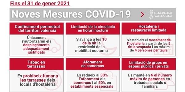 Des de hui entren en vigor noves mesures preventives front a la COVID-19