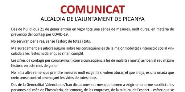 Comunicat de l'Alcaldia de l'Ajuntament de Picanya