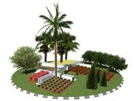 Nova rotonda a la zona de la Ronda Sud-oest. Enjardinament i instal·lació de font i figures ornamentals